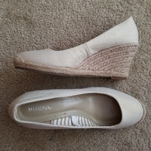 Shimmery Wedge Canvas Pumps
